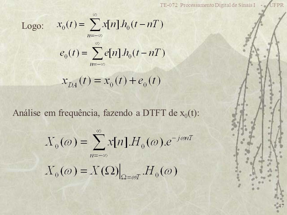 Análise em frequência, fazendo a DTFT de x0(t):