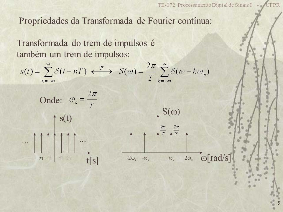 Propriedades da Transformada de Fourier contínua: