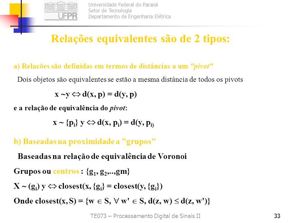Relações equivalentes são de 2 tipos:
