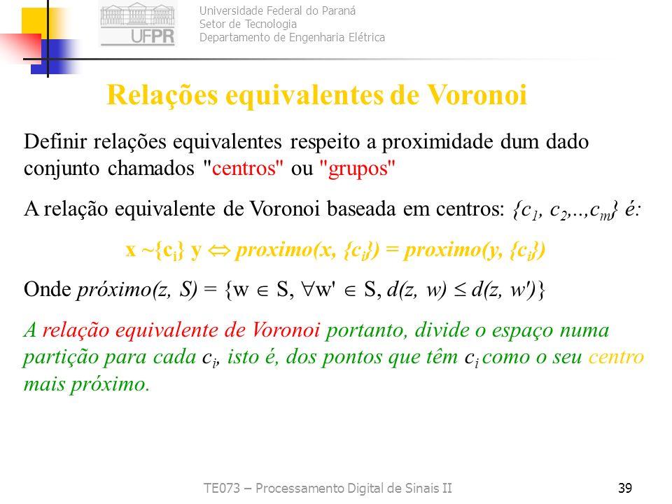 Relações equivalentes de Voronoi