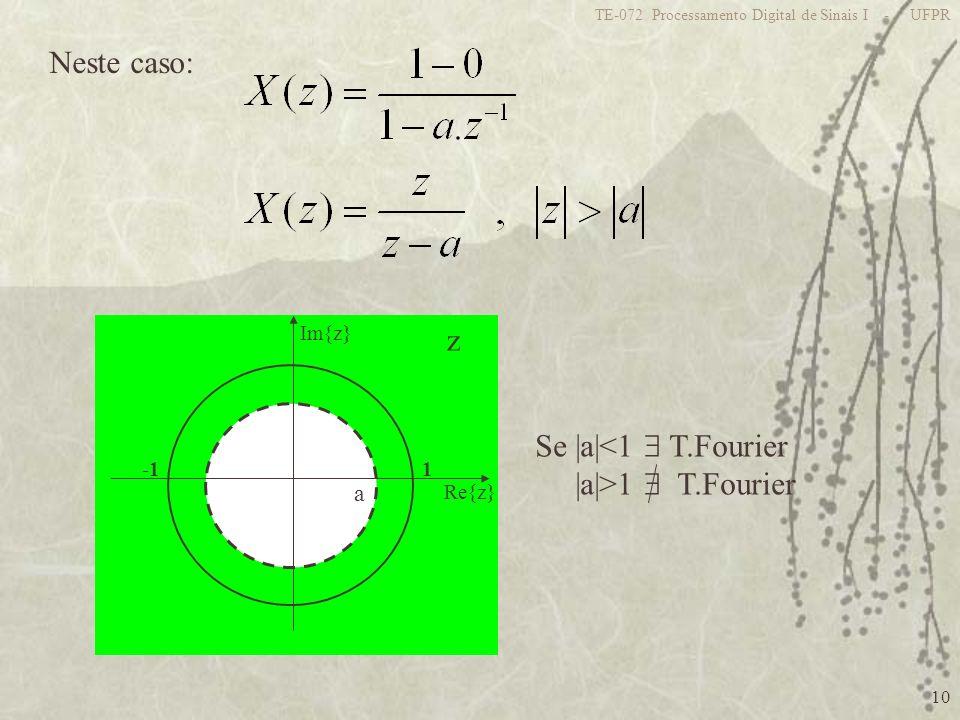 Neste caso: z Se |a|<1  T.Fourier |a|>1  T.Fourier a 1 -1