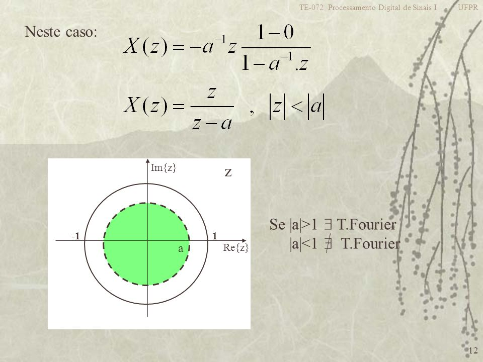 Neste caso: z Se |a|>1  T.Fourier |a|<1  T.Fourier a 1 -1