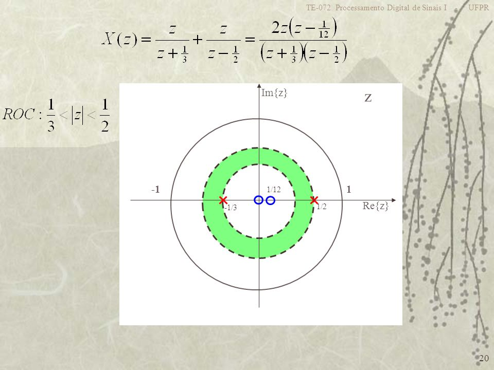 z 1 -1 Re{z} Im{z} TE-072 Processamento Digital de Sinais I - UFPR