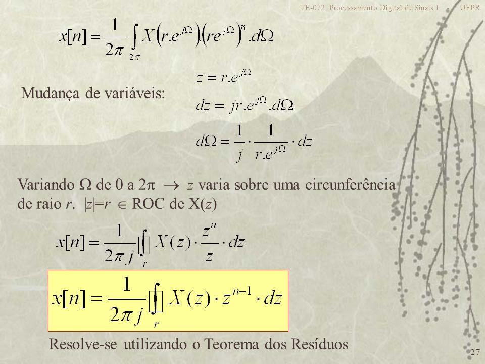 Variando  de 0 a 2  z varia sobre uma circunferência