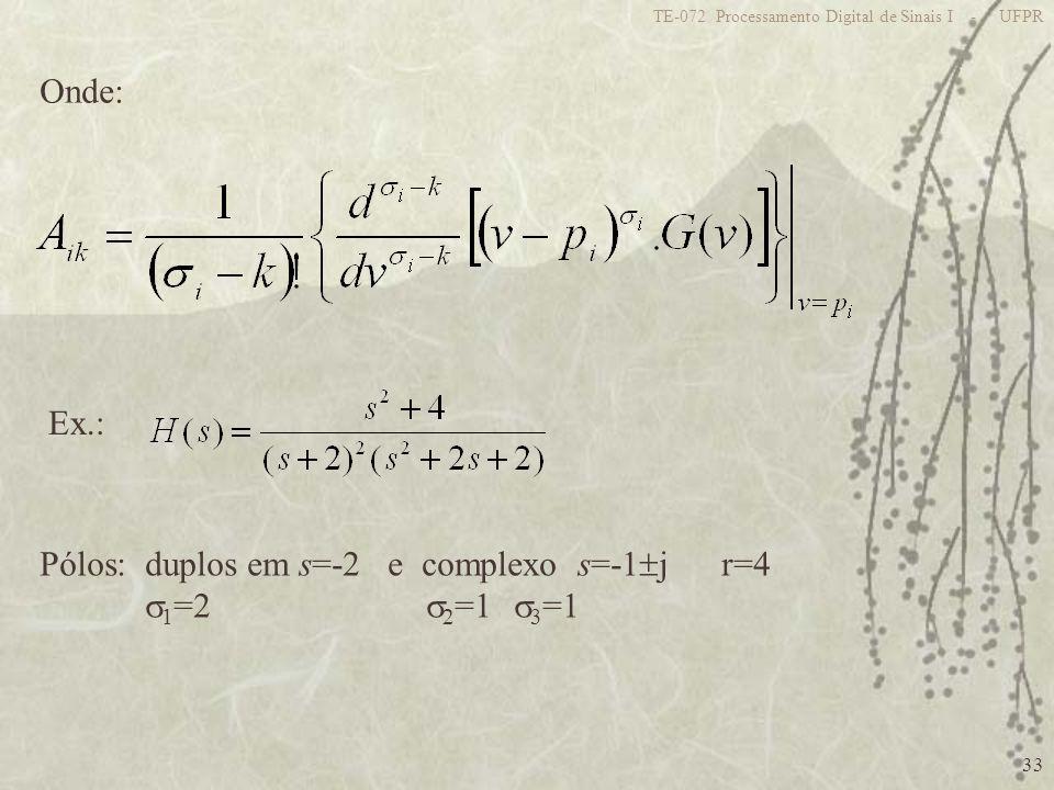 Pólos: duplos em s=-2 e complexo s=-1j r=4 1=2 2=1 3=1