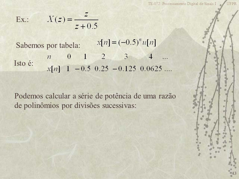Podemos calcular a série de potência de uma razão