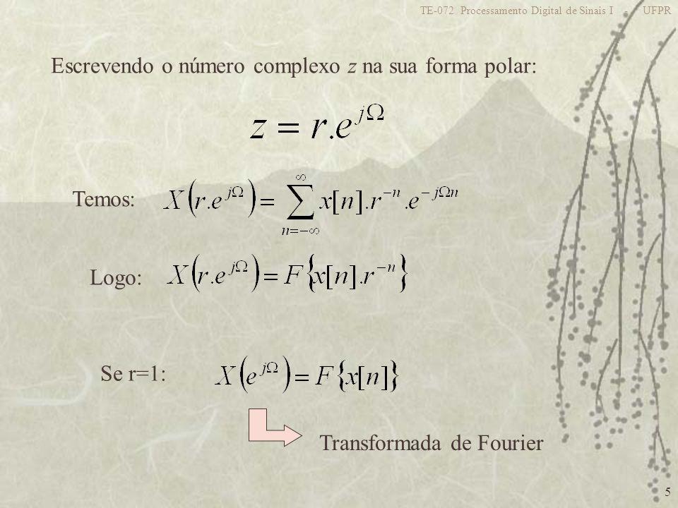 Escrevendo o número complexo z na sua forma polar:
