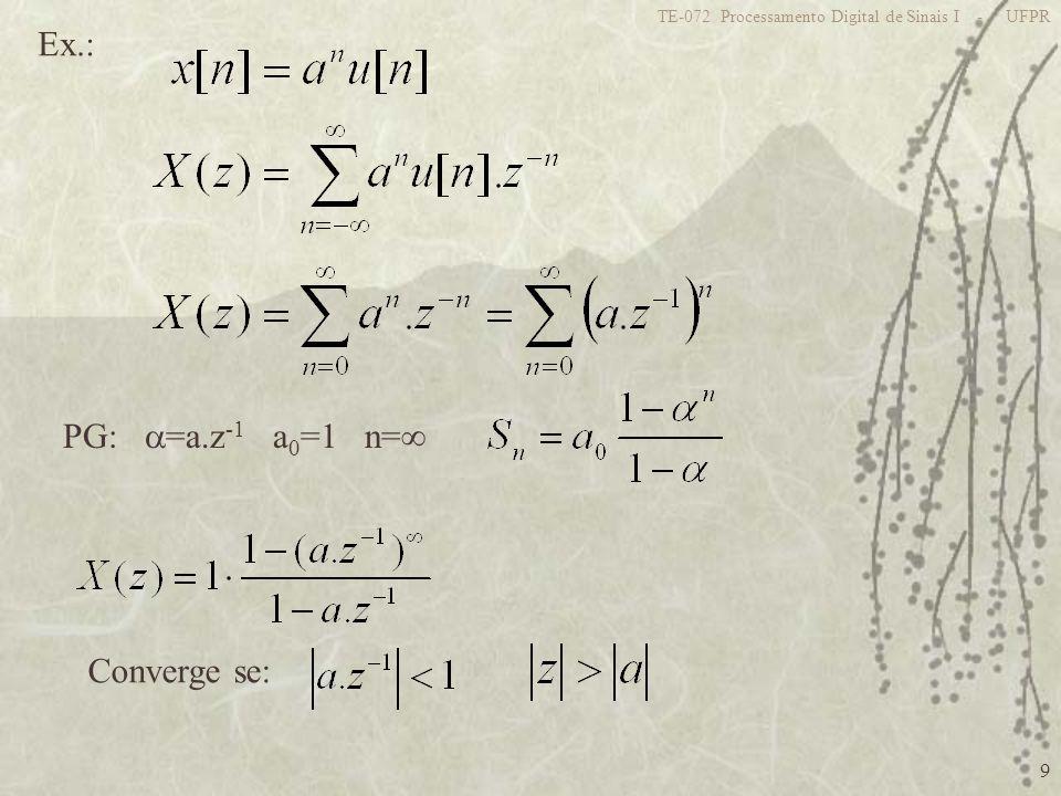 Ex.: PG: =a.z-1 a0=1 n= Converge se: