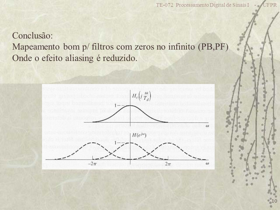 Mapeamento bom p/ filtros com zeros no infinito (PB,PF)