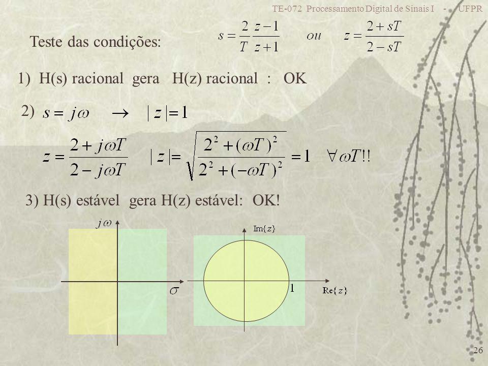 1) H(s) racional gera H(z) racional : OK