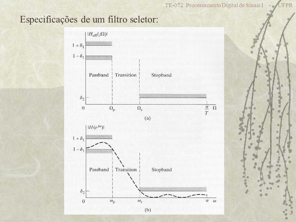 Especificações de um filtro seletor: