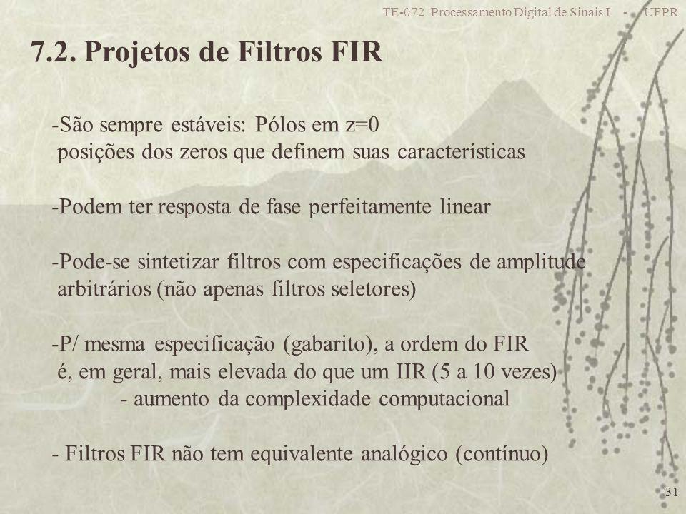 7.2. Projetos de Filtros FIR