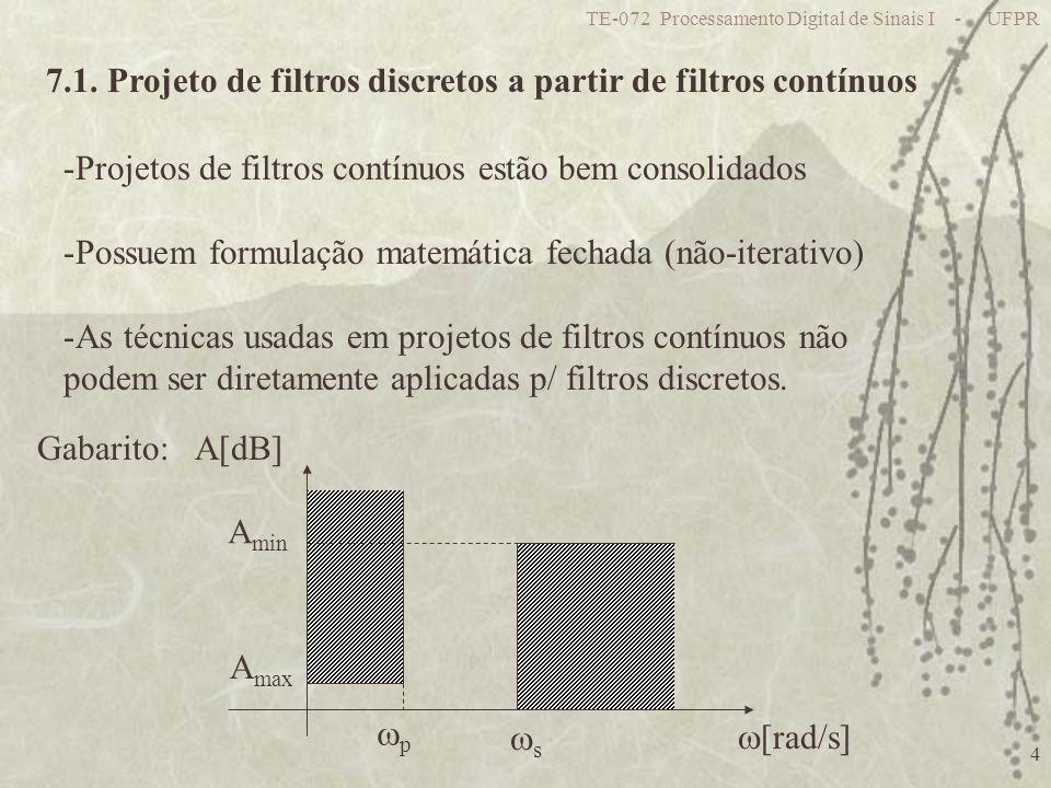 7.1. Projeto de filtros discretos a partir de filtros contínuos