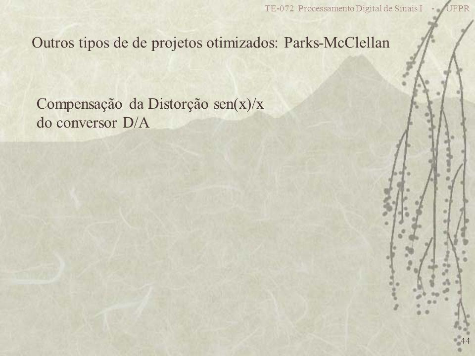 Outros tipos de de projetos otimizados: Parks-McClellan