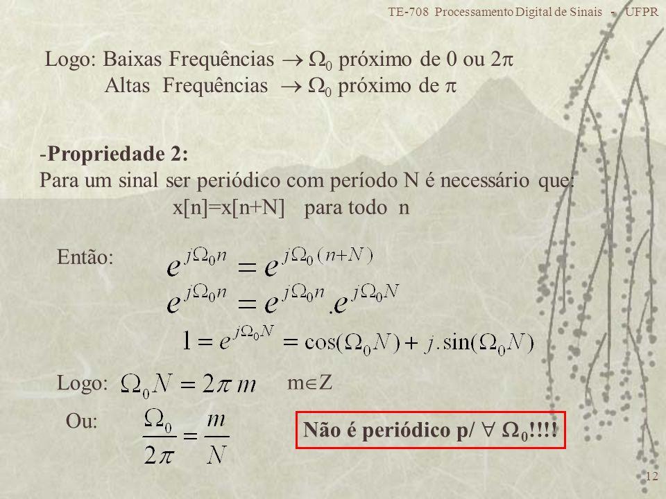 Logo: Baixas Frequências  0 próximo de 0 ou 2