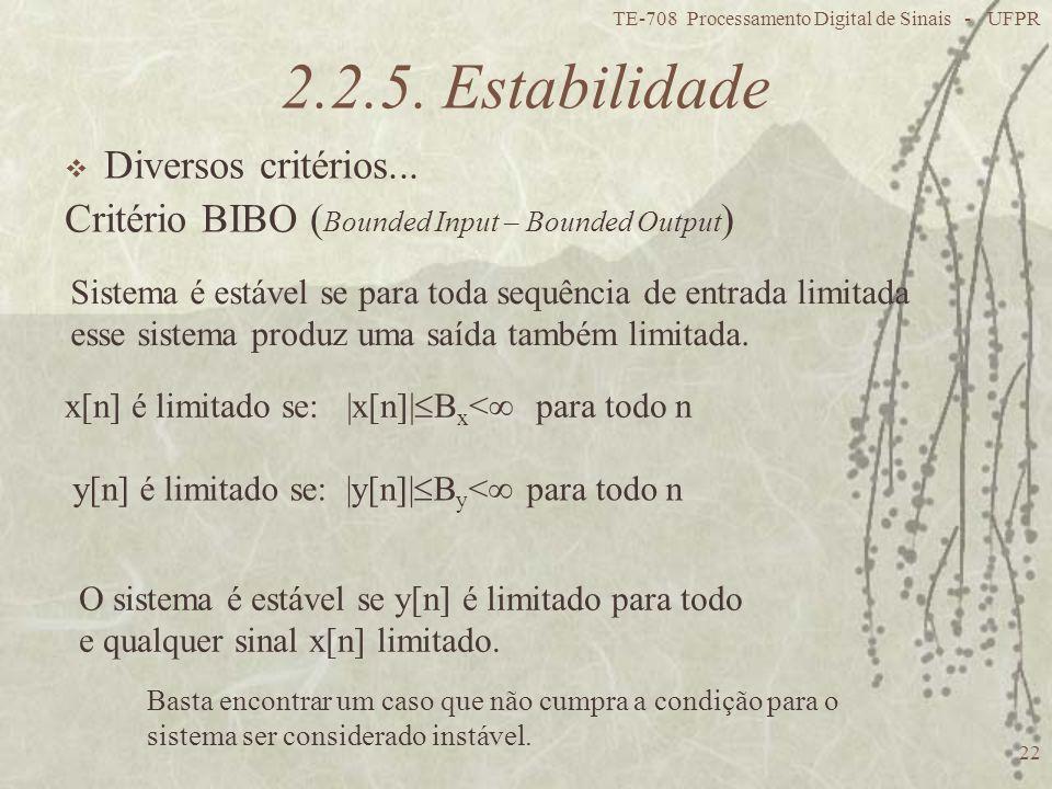 2.2.5. Estabilidade Diversos critérios...