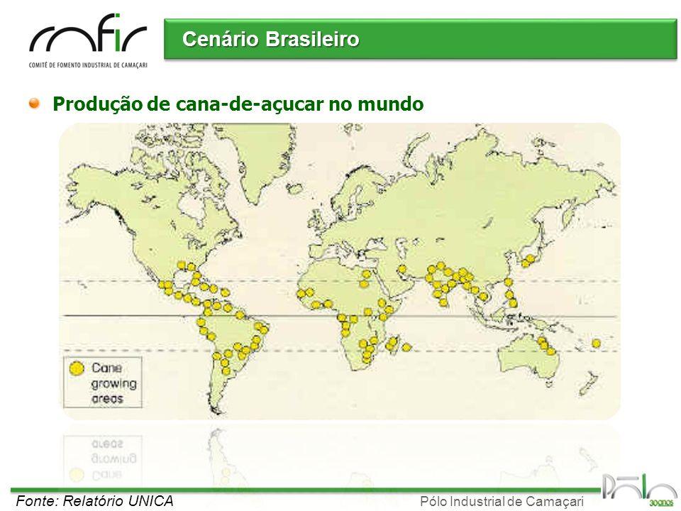 Cenário Brasileiro Produção de cana-de-açucar no mundo