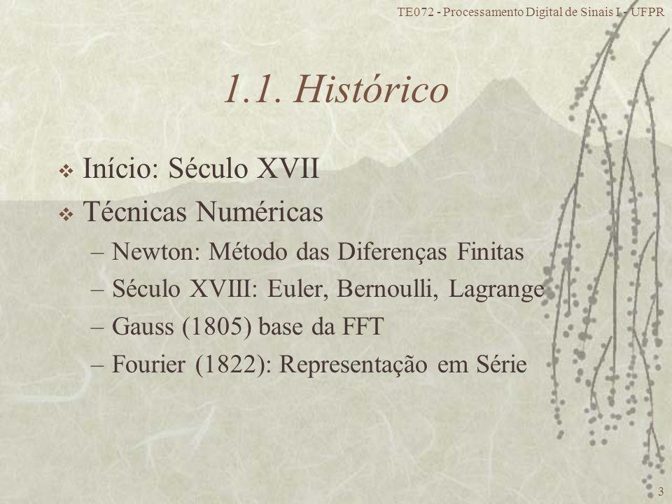 1.1. Histórico Início: Século XVII Técnicas Numéricas