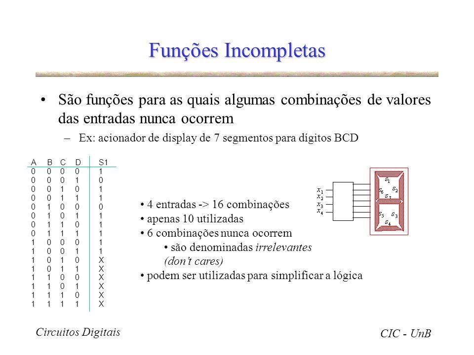 Funções Incompletas São funções para as quais algumas combinações de valores das entradas nunca ocorrem.