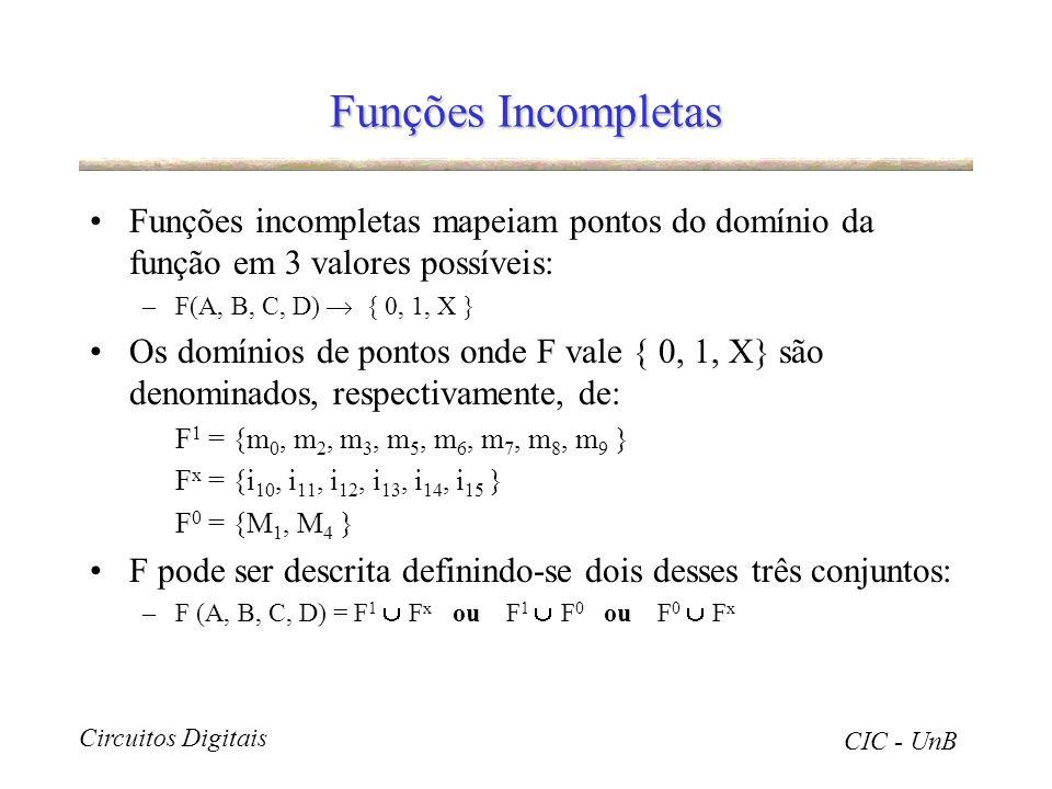 Funções Incompletas Funções incompletas mapeiam pontos do domínio da função em 3 valores possíveis: