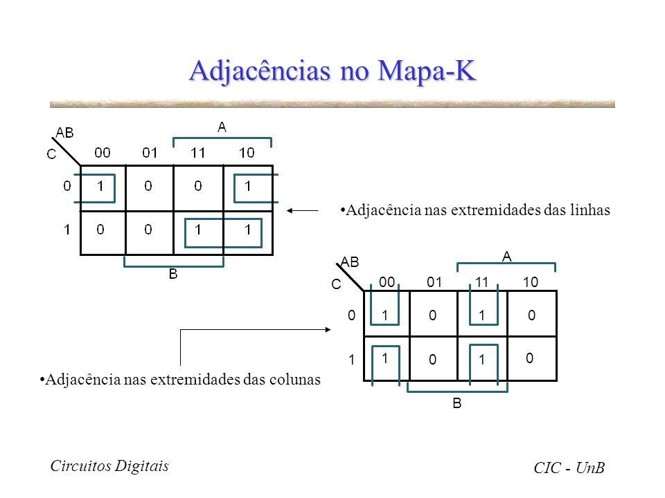 Adjacências no Mapa-K Adjacência nas extremidades das linhas