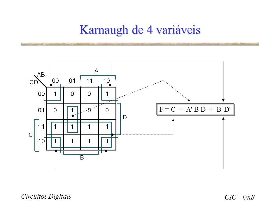 Karnaugh de 4 variáveis F = C + A B D + B D