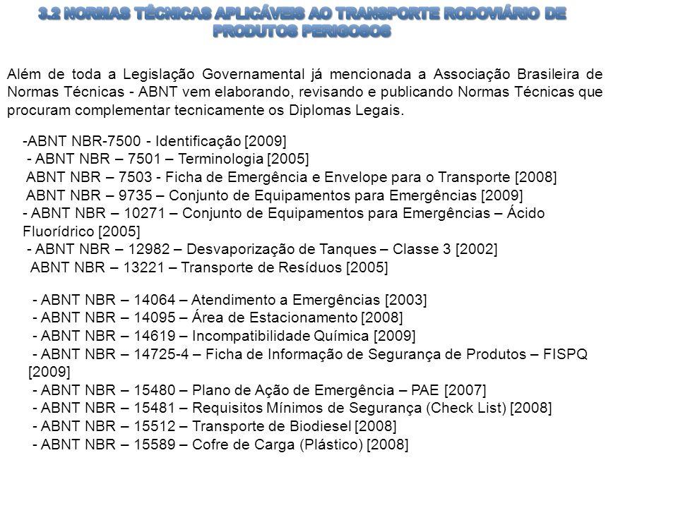 3.2 NORMAS TÉCNICAS APLICÁVEIS AO TRANSPORTE RODOVIÁRIO DE PRODUTOS PERIGOSOS