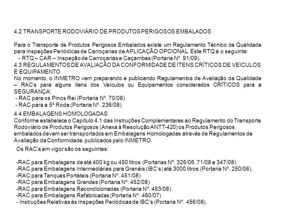 4.2 TRANSPORTE RODOVIÁRIO DE PRODUTOS PERIGOSOS EMBALADOS