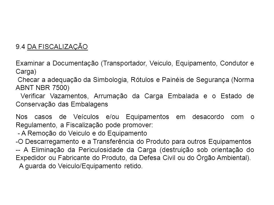 9.4 DA FISCALIZAÇÃO Examinar a Documentação (Transportador, Veiculo, Equipamento, Condutor e Carga)