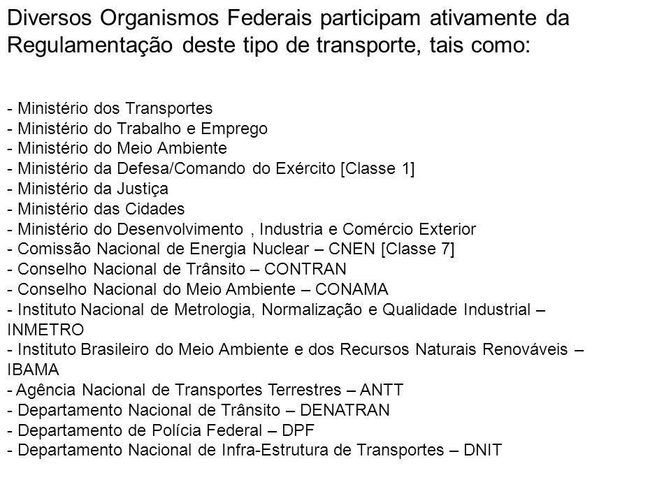 Diversos Organismos Federais participam ativamente da Regulamentação deste tipo de transporte, tais como: