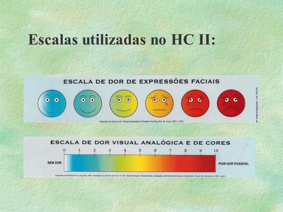 Escalas utilizadas no HC II: