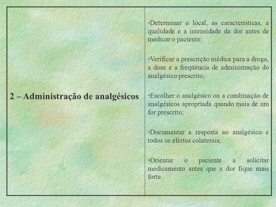 2 – Administração de analgésicos
