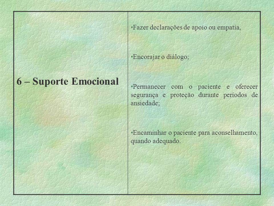 6 – Suporte Emocional Fazer declarações de apoio ou empatia,