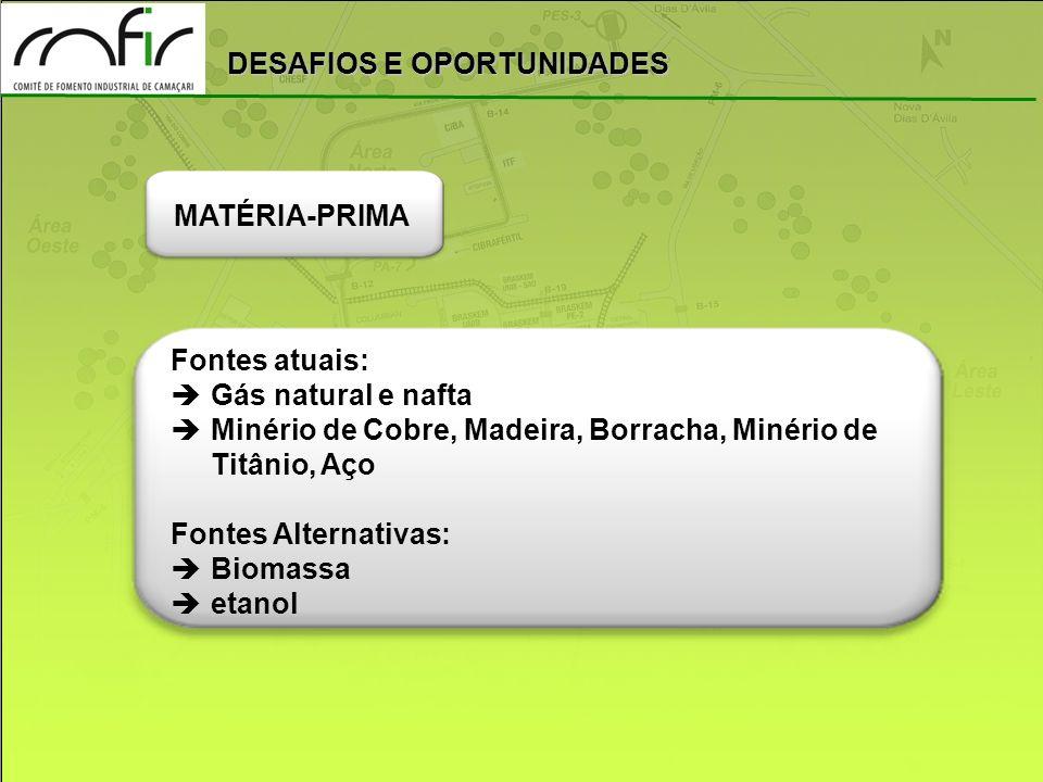MATÉRIA-PRIMA Fontes atuais: Gás natural e nafta. Minério de Cobre, Madeira, Borracha, Minério de Titânio, Aço.