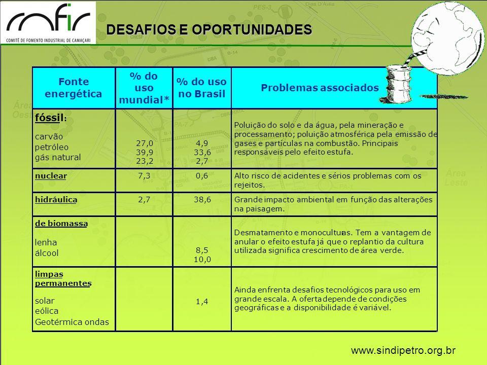 www.sindipetro.org.br Fonte energética % do uso mundial* % do uso