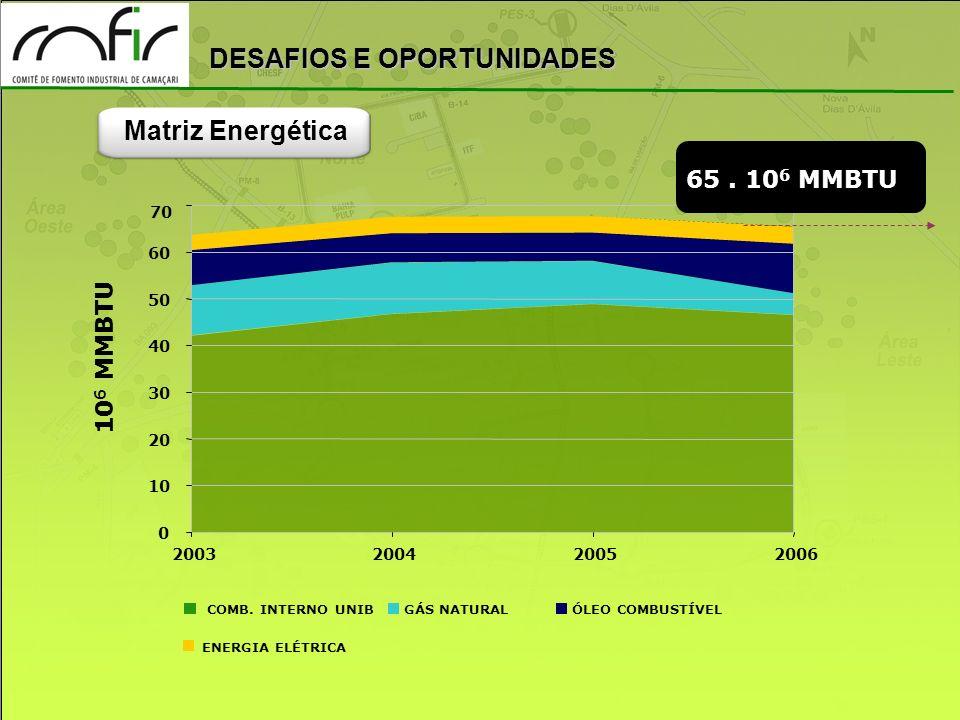 Matriz Energética 65 . 106 MMBTU 106 MMBTU 70 60 50 40 30 20 10 2003