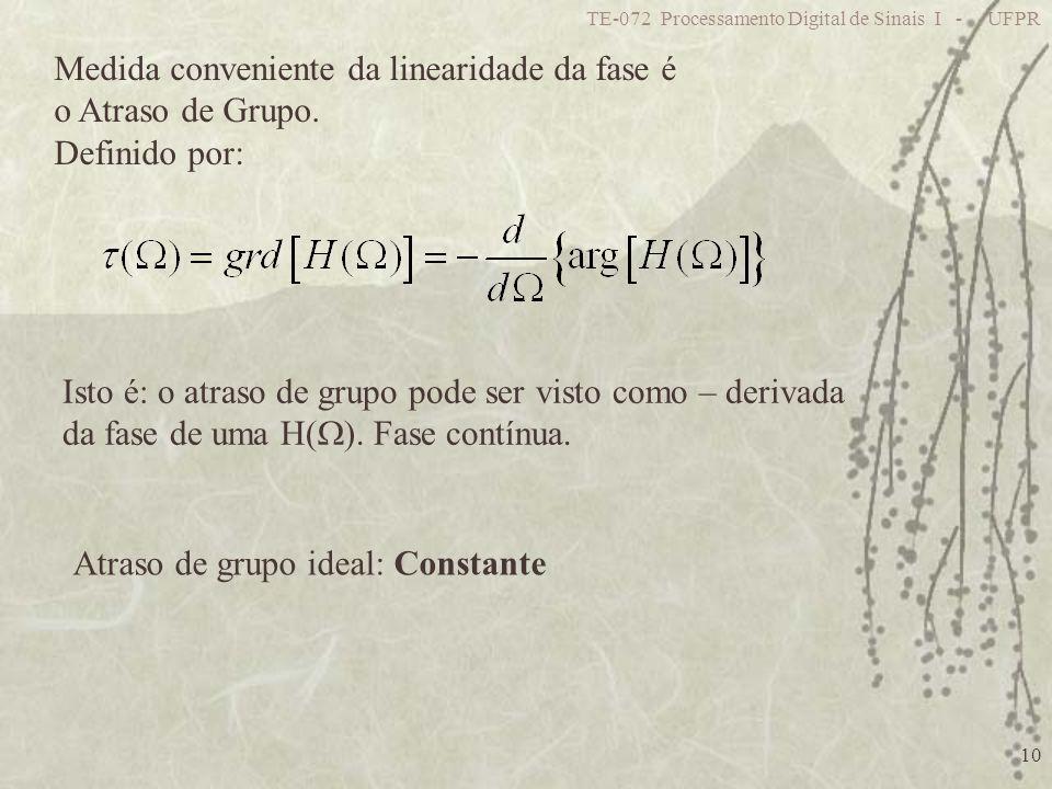 Medida conveniente da linearidade da fase é o Atraso de Grupo.