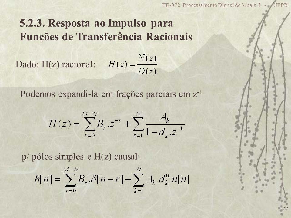 5.2.3. Resposta ao Impulso para Funções de Transferência Racionais