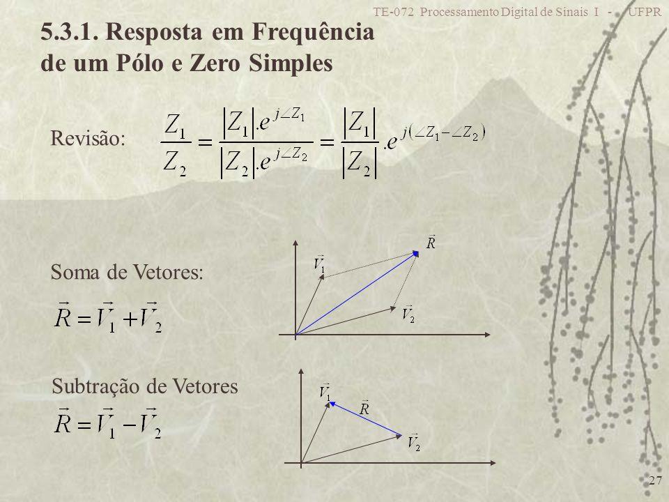 5.3.1. Resposta em Frequência de um Pólo e Zero Simples