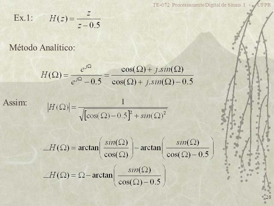 Ex.1: Método Analítico: Assim: