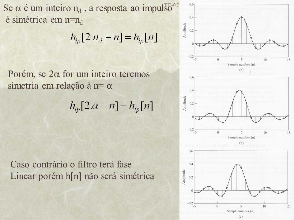 Se  é um inteiro nd , a resposta ao impulso é simétrica em n=nd