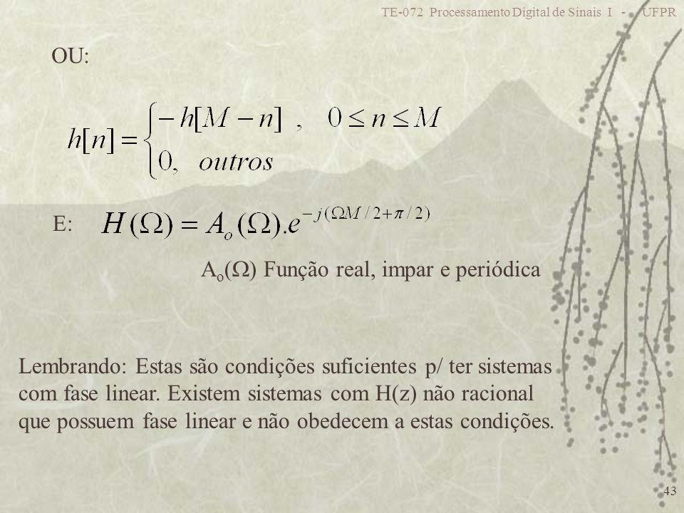Ao() Função real, impar e periódica
