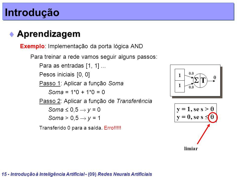 Introdução Aprendizagem  T y = 1, se s >  y = 0, se s  