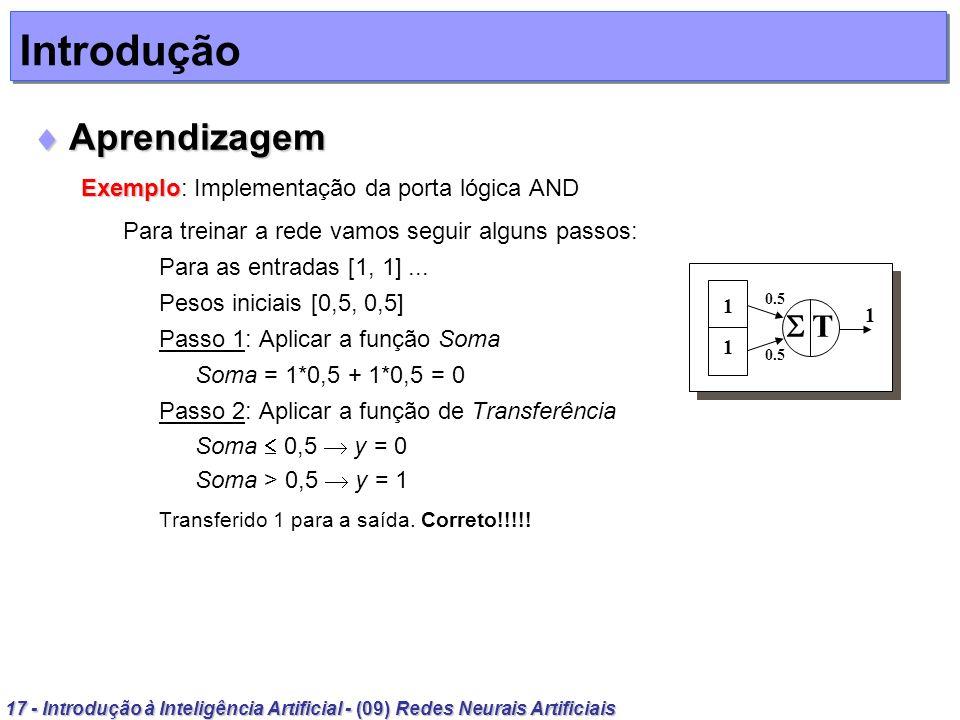 Introdução Aprendizagem  T Exemplo: Implementação da porta lógica AND