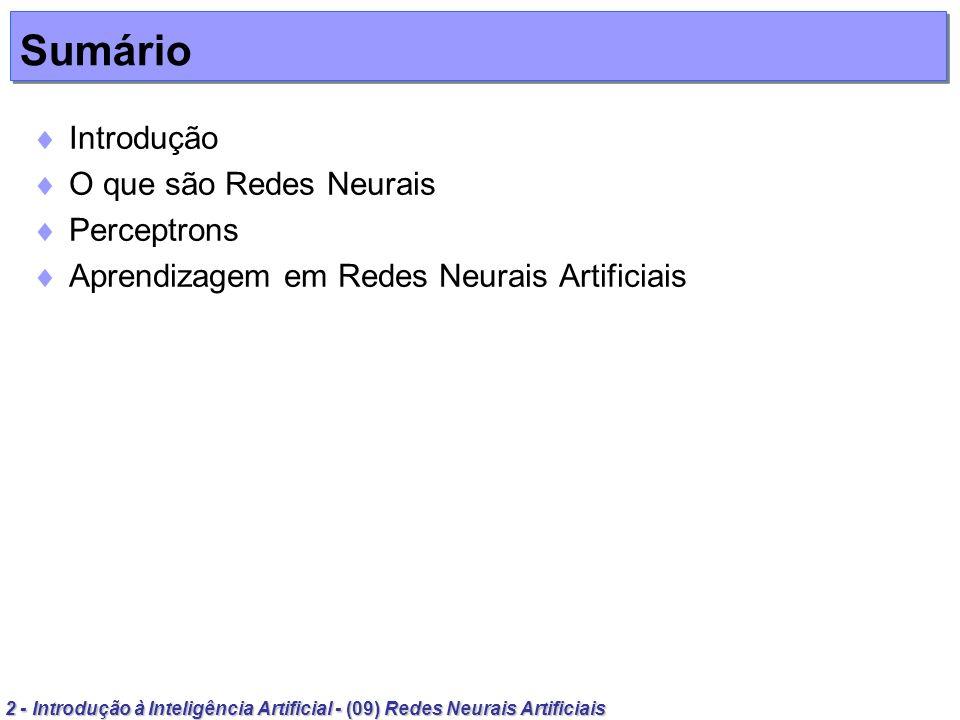 Sumário Introdução O que são Redes Neurais Perceptrons
