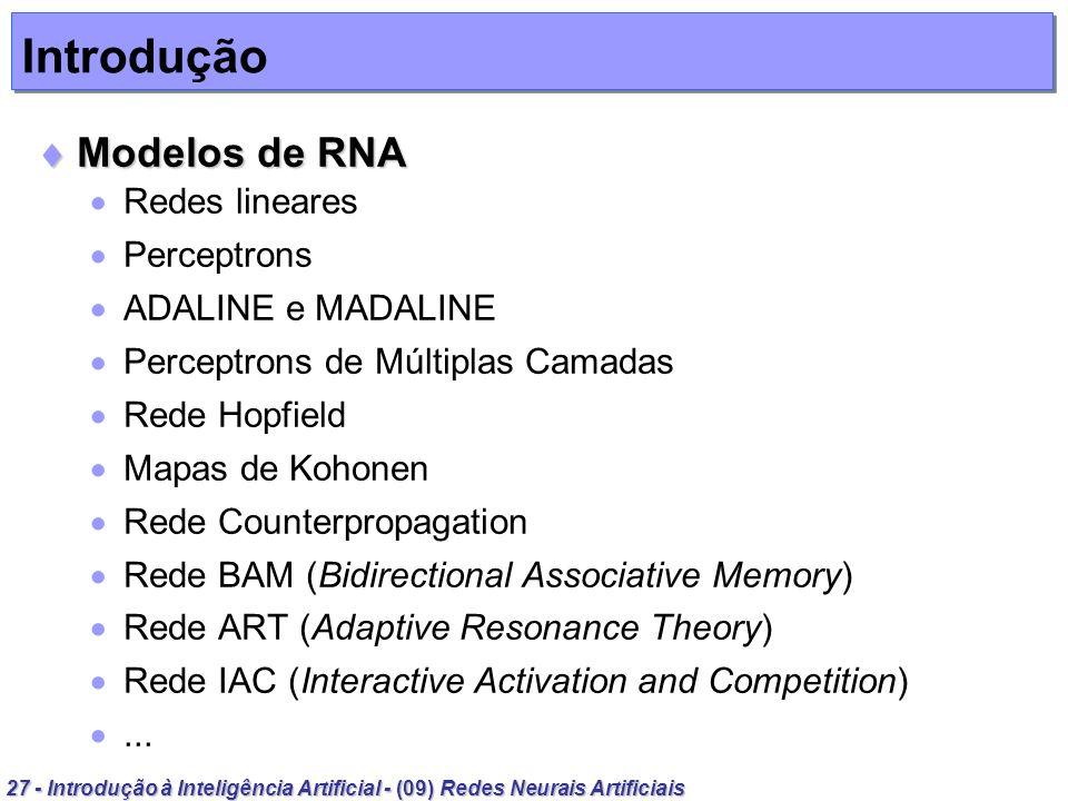Introdução Modelos de RNA Redes lineares Perceptrons