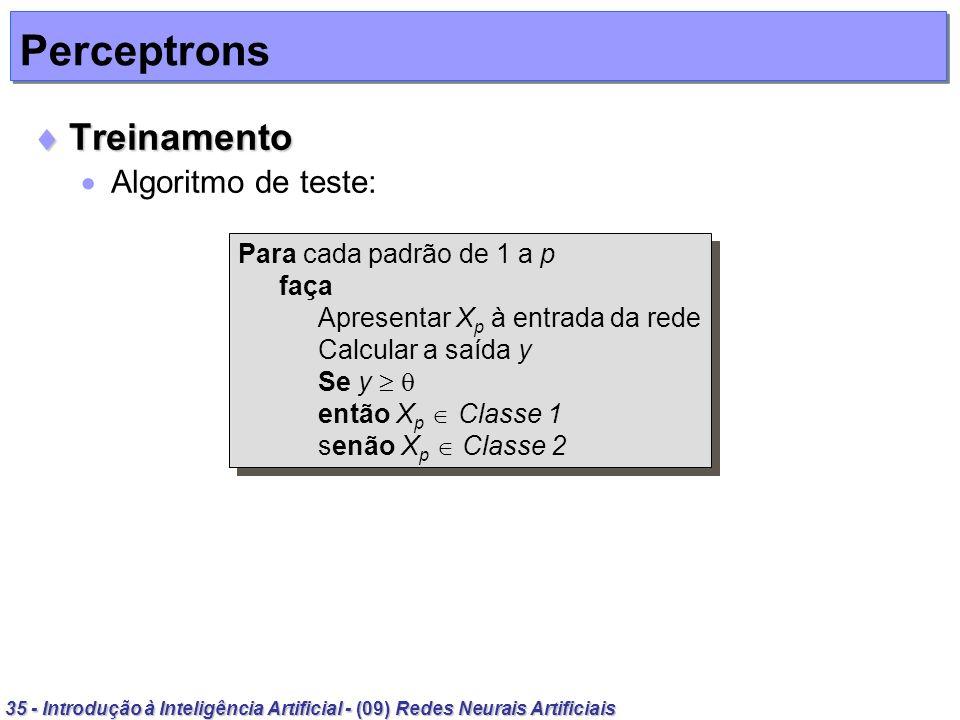 Perceptrons Treinamento Algoritmo de teste: Para cada padrão de 1 a p
