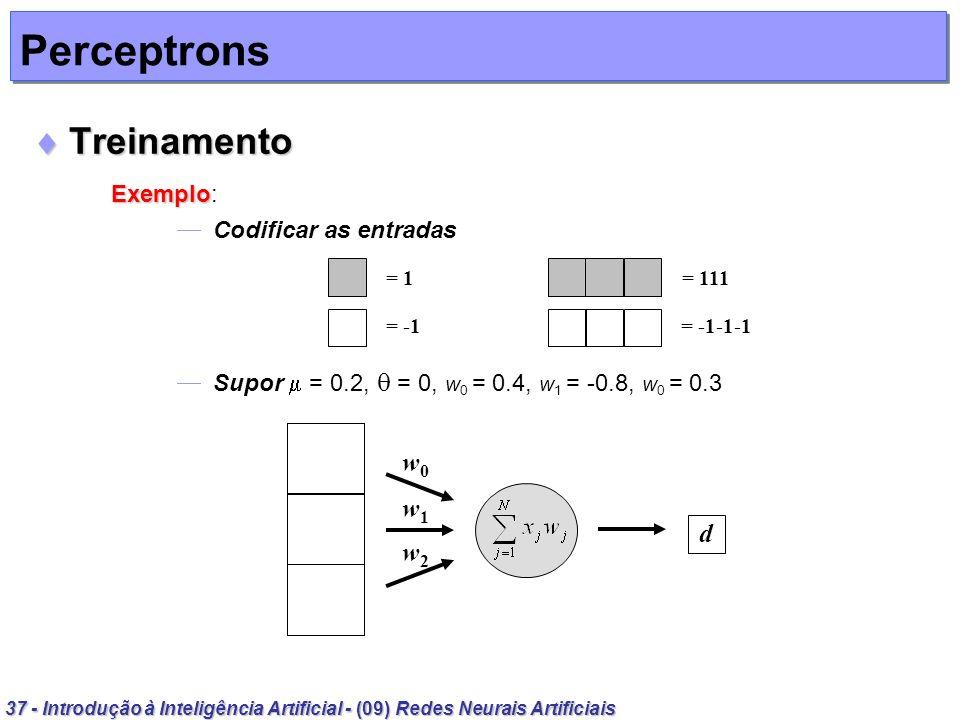 Perceptrons Treinamento Exemplo: w0 w1 d w2 Codificar as entradas