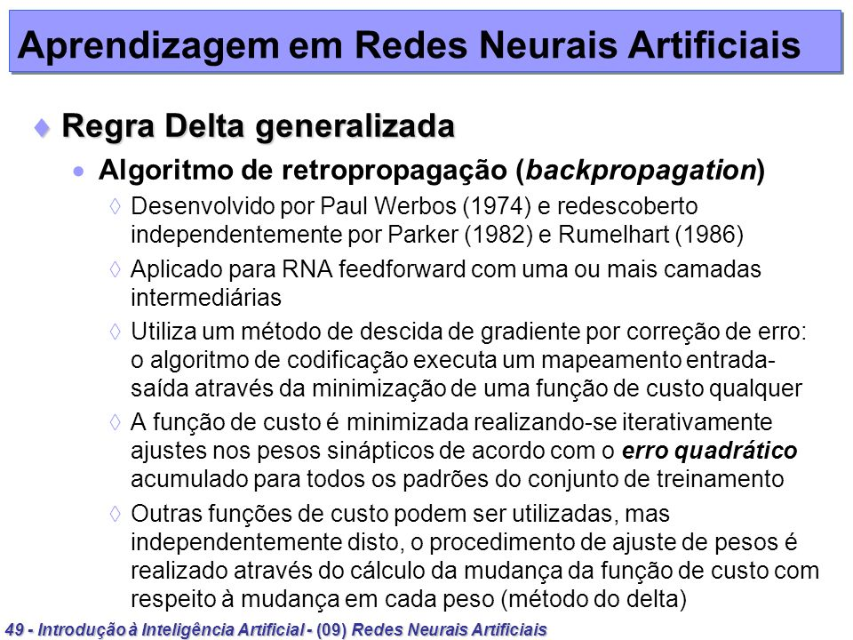 Aprendizagem em Redes Neurais Artificiais