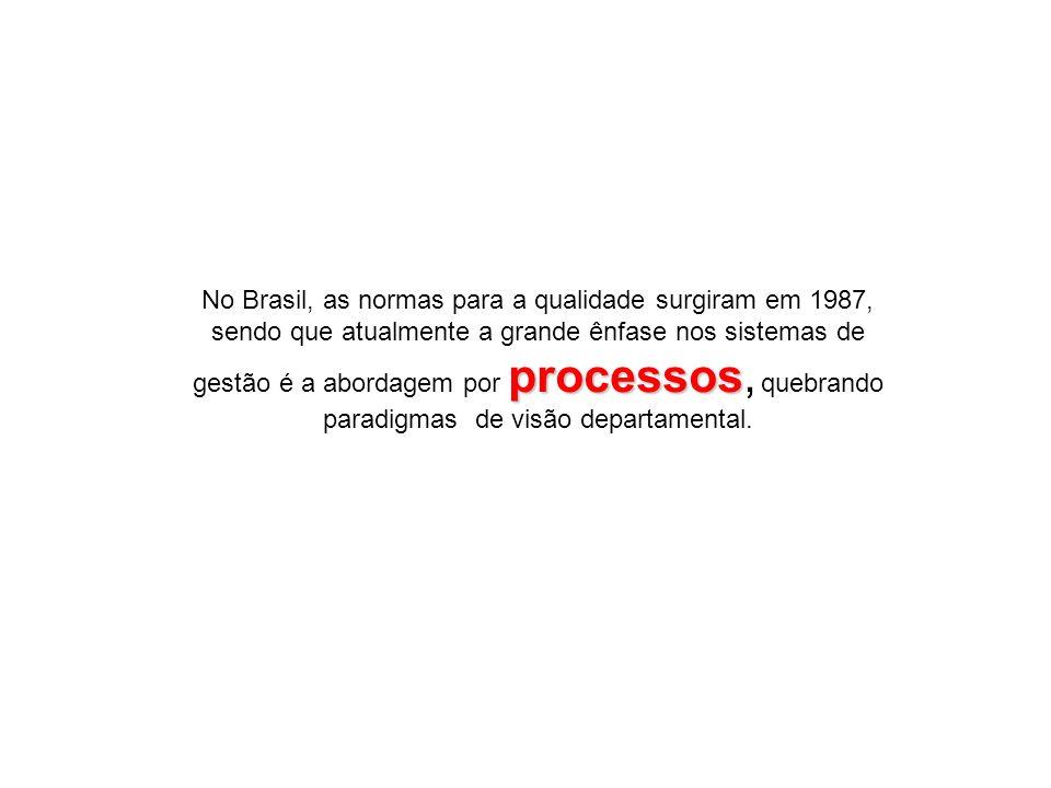 No Brasil, as normas para a qualidade surgiram em 1987, sendo que atualmente a grande ênfase nos sistemas de gestão é a abordagem por processos, quebrando paradigmas de visão departamental.